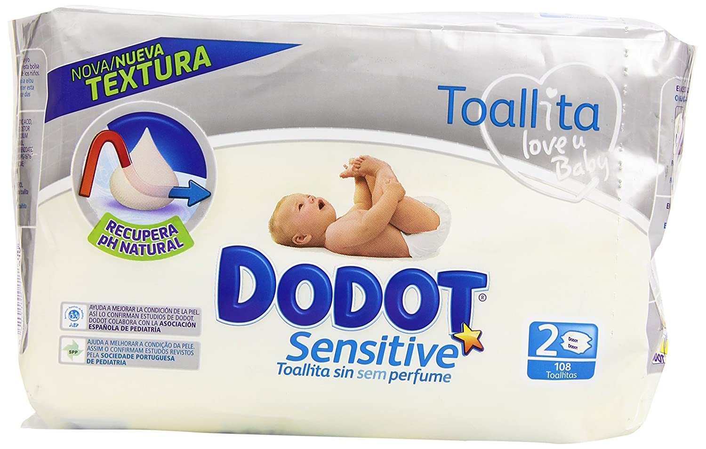 Dodot - Toallitas para piel sensible, sin perfume - 2 paquetes 108 toallitas - Pack de 6 (Total 648 toallitas) Procter & Gamble