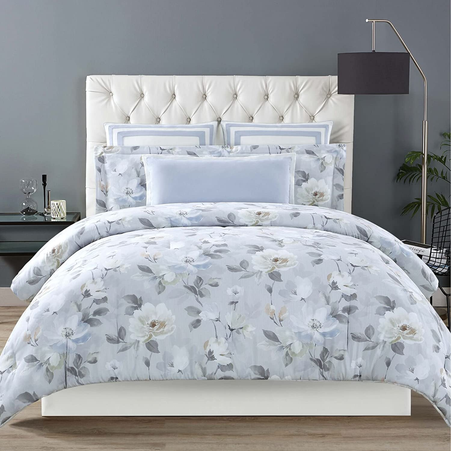Soft Floral Full Queen Christian Siriano Comforter Set, King, Garden Bloom