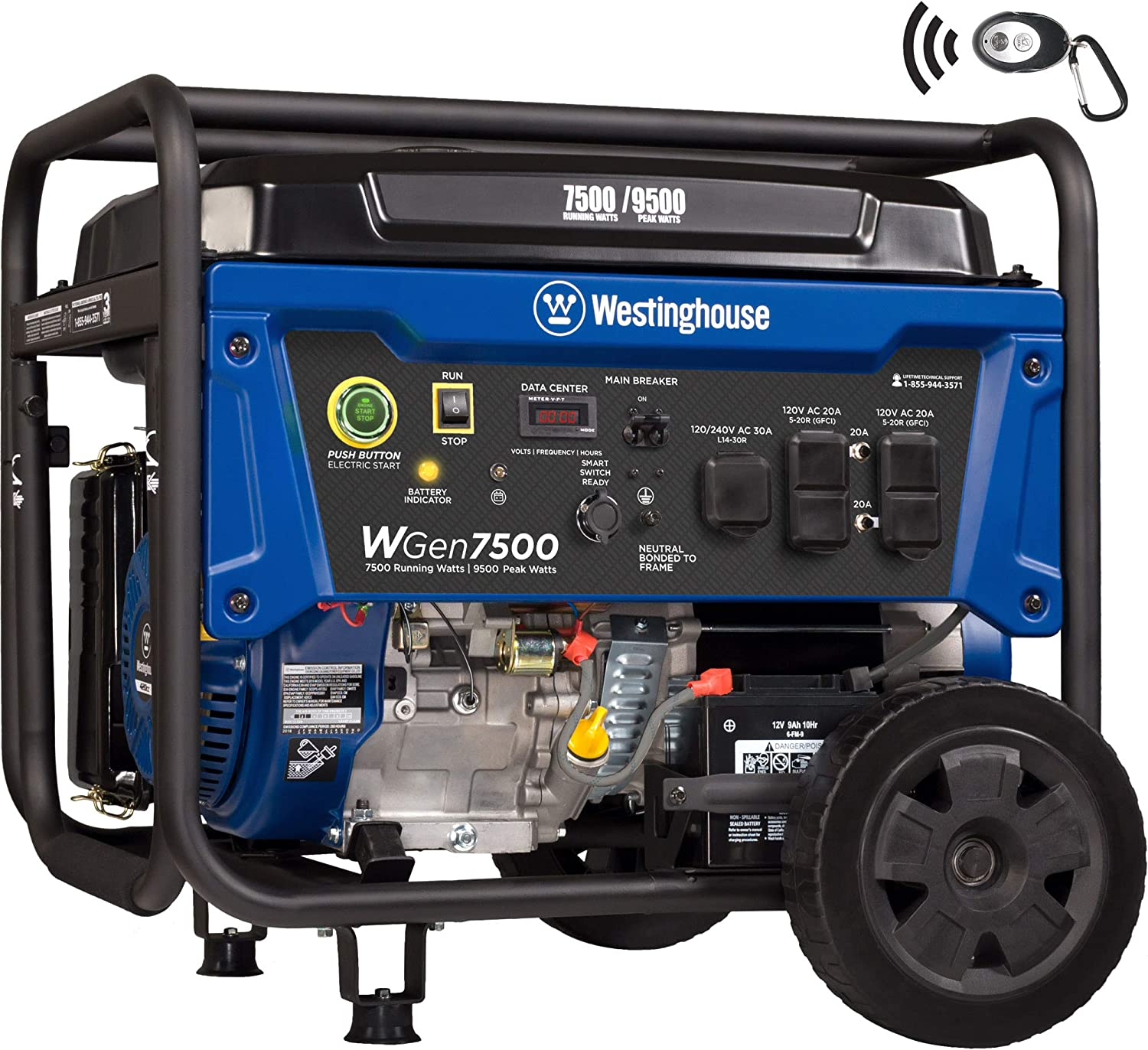 Westinghouse WGen7500 Portable Generator with Remote Electric Start – 7500 Rated Watts 9500 Peak Watts – Gas Powered – CARB Compliant – Transfer Switch Ready