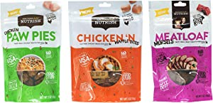 Rachael Ray Nutrish Dog Treats Variety Pack Bundle of 3 Flavors (Chicken Paw Pies, Chicken 'N Waffle Bites, Meatloaf Morsels), 3 oz Each