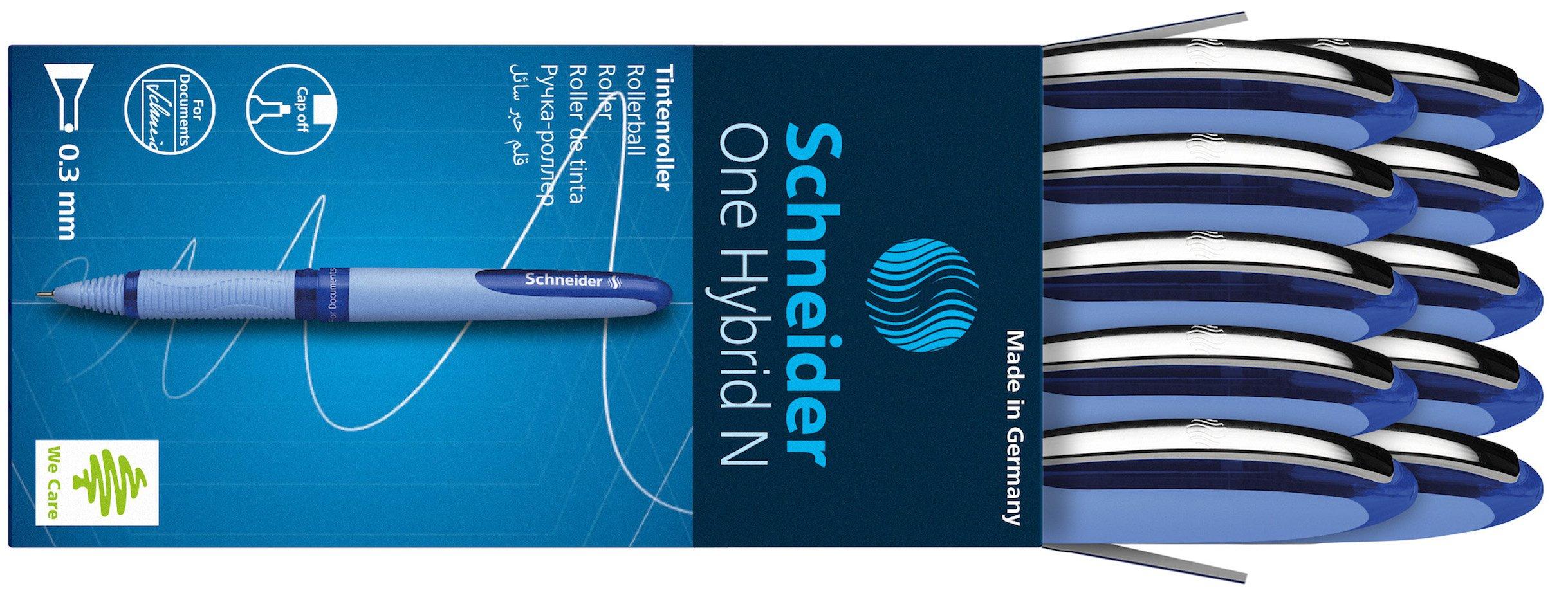 Schneider ONE Hybrid N Rollerball Pen, 0.3mm, Blue, Box of 10 (183403)