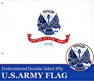 G128 - U.S. Army Military Flag 2ftx3ft 2x3 2'x3' Double Sided 2ply Embroidered Heavy Duty Brass Grommets
