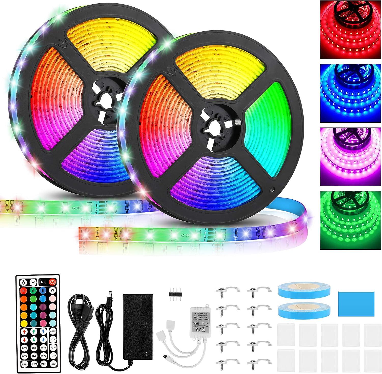 Tiras LED 10M, Tiras LED Musical 2835 SMD, Tiras de Luces LED Iluminación con 600 LEDS, Tiras LED de Luces Kit con Control Remoto de 44Teclas IR, IP65 Tira LED para Decoración Hogar, Jardín, Navidad