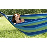 Hammock Sky Brazilian Double Hammock - Two Person Bed for Backyard, Porch, Outdoor and Indoor Use - Soft Woven Cotton Fabric for Supreme Comfort (Blue & Green Stripes)