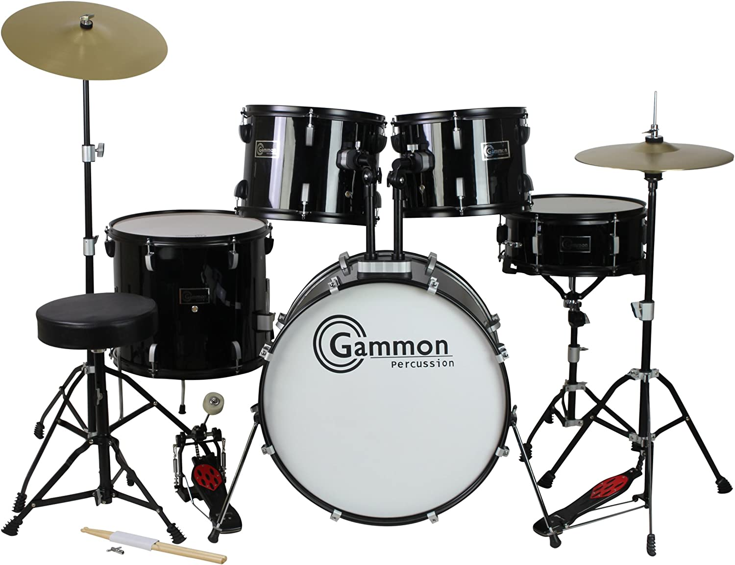 Gammon Percussion Full Size Complete Adult 5 Piece Drum Set with Cymbals Stands...