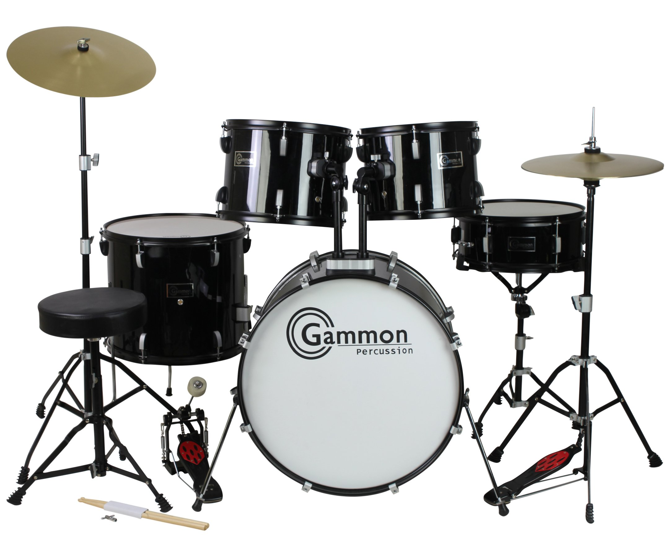 Gammon Percussion Full Size Complete Adult 5 Piece Drum Set with Cymbals Stands Stool and Sticks, Black by Gammon Percussion (Image #3)