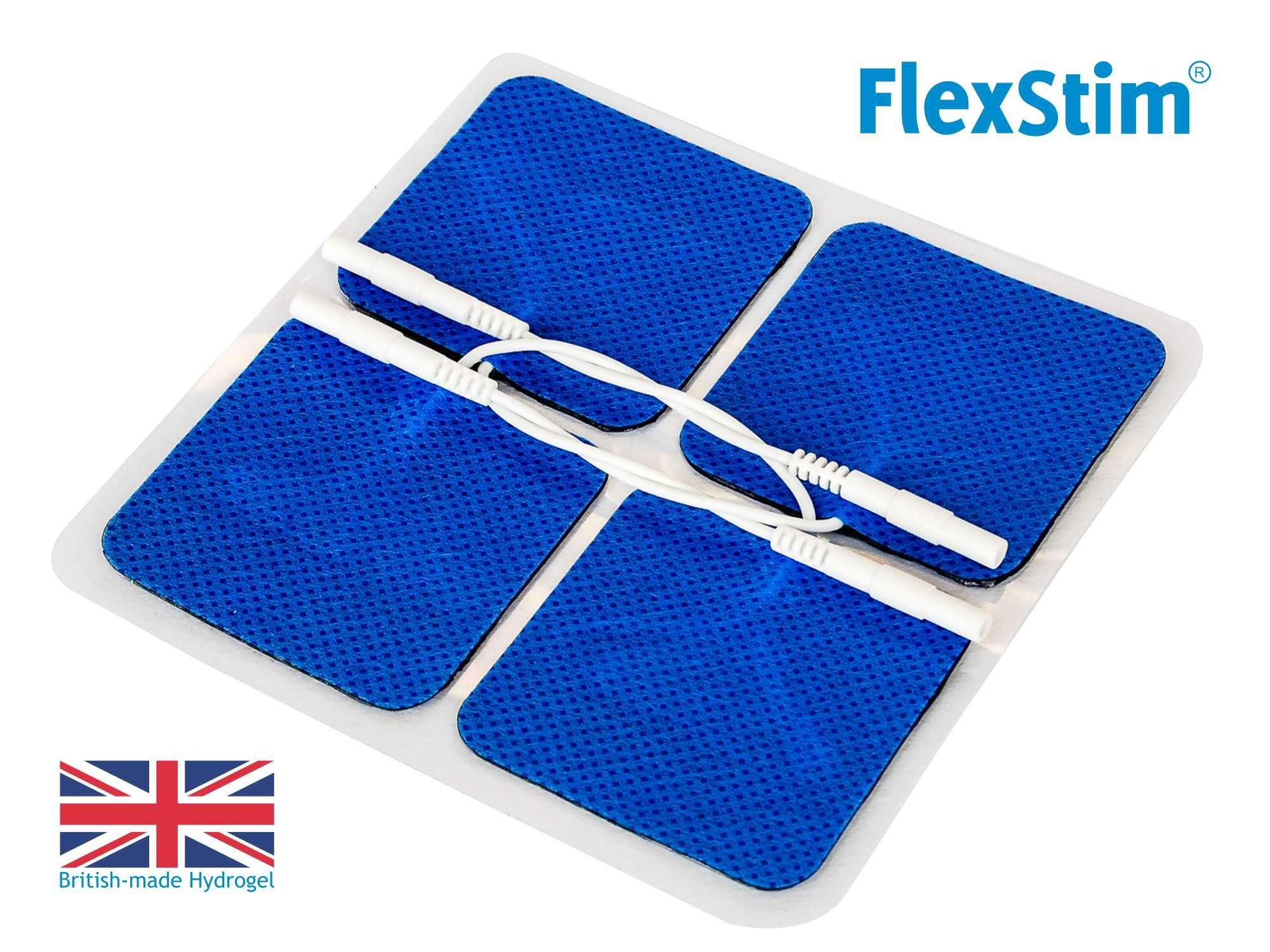 FlexStim 2'' Square TENS/EMS Electrode Pads with Pigtail Connector, Supplied with British made Premium Hydrogel - Compatible with Most TENS/EMS Units - Flexible Tens Pads – Easy to use. (20)