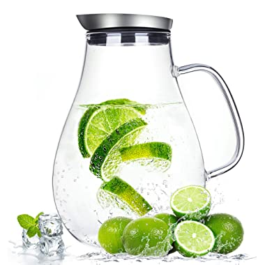 2.0 Liter Glass Pitcher with Lid, Water Carafe Jug for Hot/Cold Water, Ice Tea and Juice Beverage