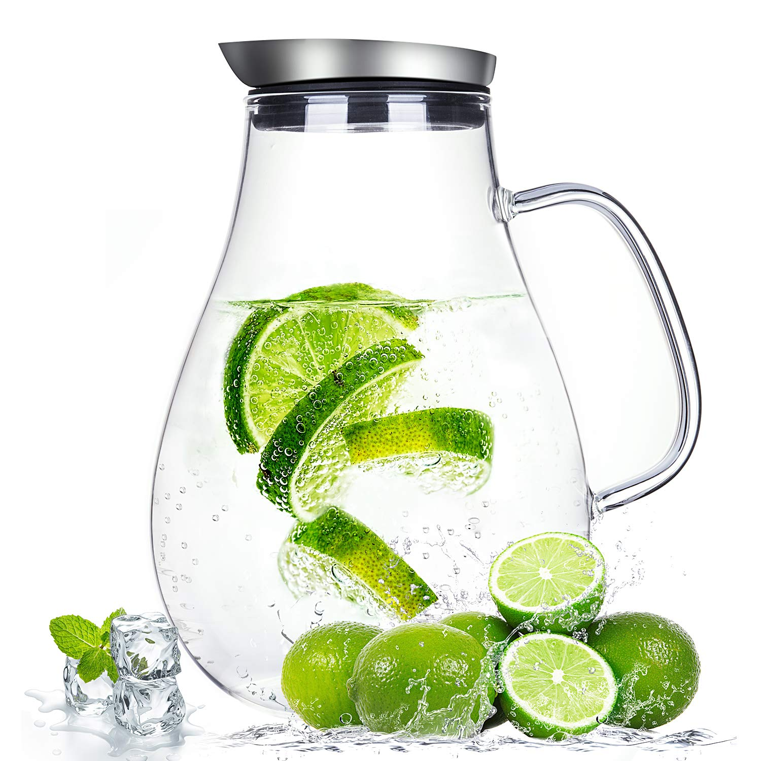 2.0 Liter Glass Pitcher with Lid, Water Carafe Jug for Hot/Cold Water, Ice Tea and Juice Beverage by susteas (Image #1)