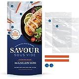 Savour Sous Vide Cooking Bags (16 Count Gallon Size), Reusable, Fast & Simple, Leak Proof, No Vacuum Sealer Required, No BPA/