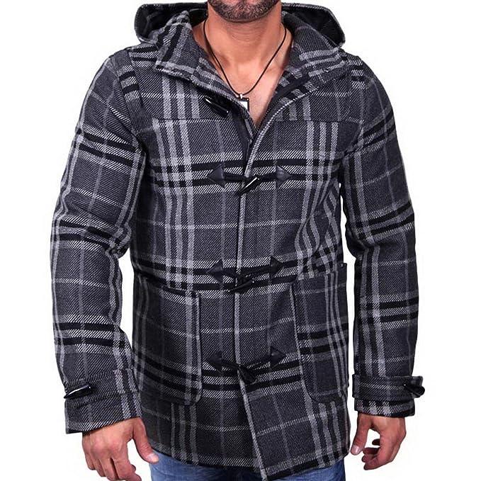 Baxboy AKS Hombre Otoño Chaqueta Abrigo de Invierno para & Trenchcoat Cuadros Abrigo Corto Gris 943