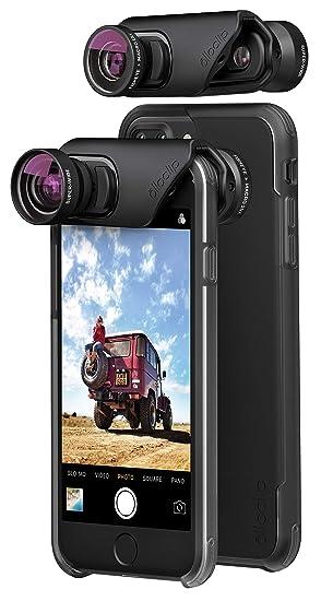Olloclip - Core Lents – Set de objetivos + carcasa (dos) para iPhone 7/7 Plus; foto, vídeo, selfie y panorámicas en alta definición - Negro