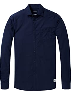 Scotch   Soda AMS Blauw Lightweight Slim Fit Crispy Shirt in Colours,  Chemise Casual Homme 3a60e3b73430