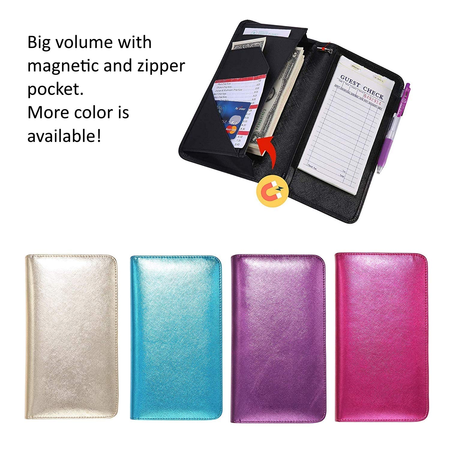 Mymazn Pink Server Book for Waitress Book with Zipper Pocket Server Wallet with Money Pocket and Zipper Pouch Restaurant Waitstaff Organizer, Guest Check Book Holder Money Pocket Fit Server Apron by Mymazn (Image #7)