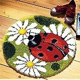 Beyond Your Thoughts Model Animal Latch Hook Kit Rug Animal Ladybug DIY Needle Craft Shaggy Kids Rug 17X17 in