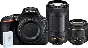 Nikon D5600 + AF-P 18-55mm VR + AF-P 70-300mm VR Twin Lens Kit, Black