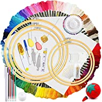 HEPAZ borduurset, kruissteek starterkit, borduurwerk kruissteek tool kit, inclusief 100 kleurdraden, 5 bamboe…