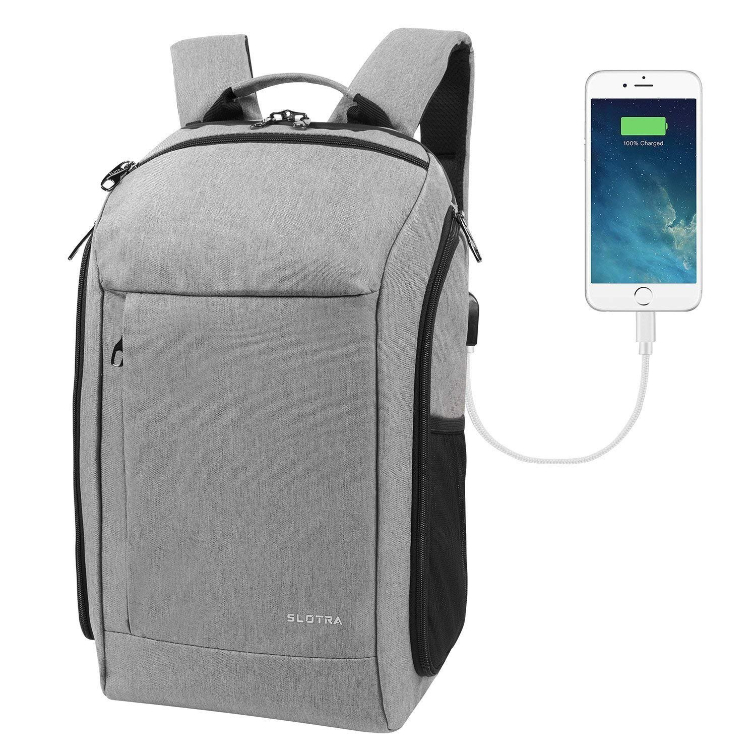 SLOTRA 15.6 Inch Laptop Backpack with USB Charging Port Carry-ons Backpack for Travel Business with a Camera Case Hand Luggage Rucksack 25L-Light Gray