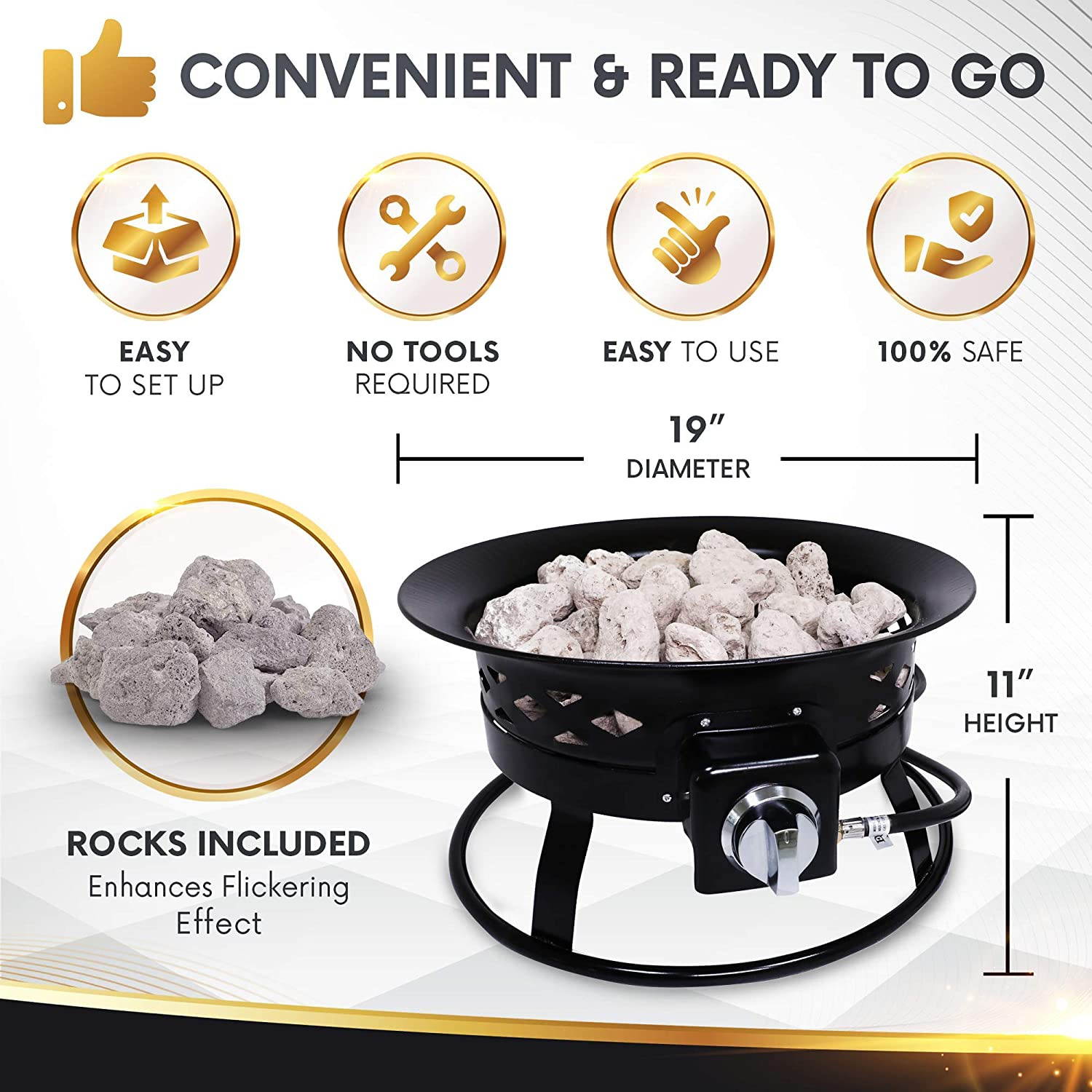 Project One Portable Outdoor Propane Fire Pit with Cover Carry Kit Cross Pattern 19-Inch Diameter 58,000 BTU /& Lava Rocks