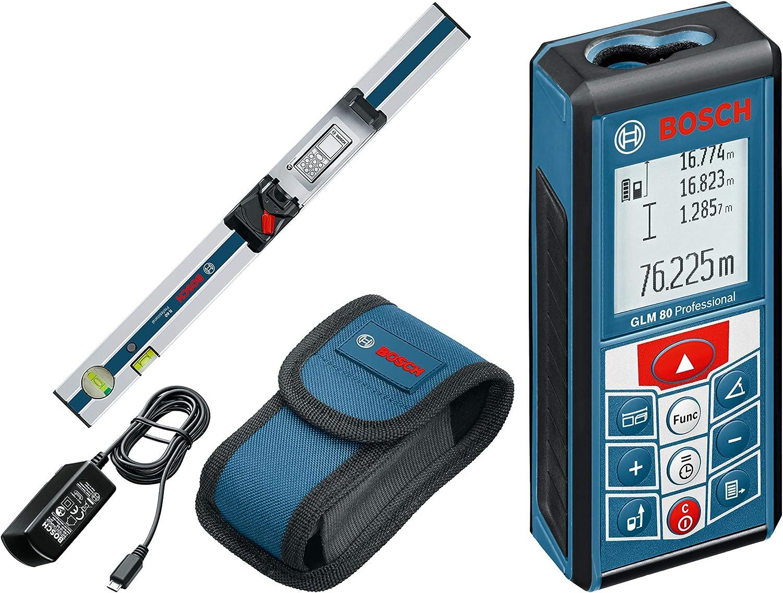 Bosch Professional GLM 80 + R 60 - Medidor láser de distancias (batería de litio integrada, alcance 80 m, con regla inclinómetro, con funda)