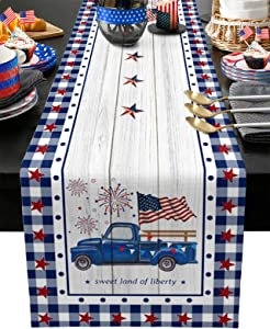 Independence Day Cotton Linen Table Runner Dresser Scarves Truck USA Flag July 4th Non-Slip Rectangle Burlap Decor for Home Stars Check Plaid Buffalo Wood Grain Polyester Tablecloth, 13