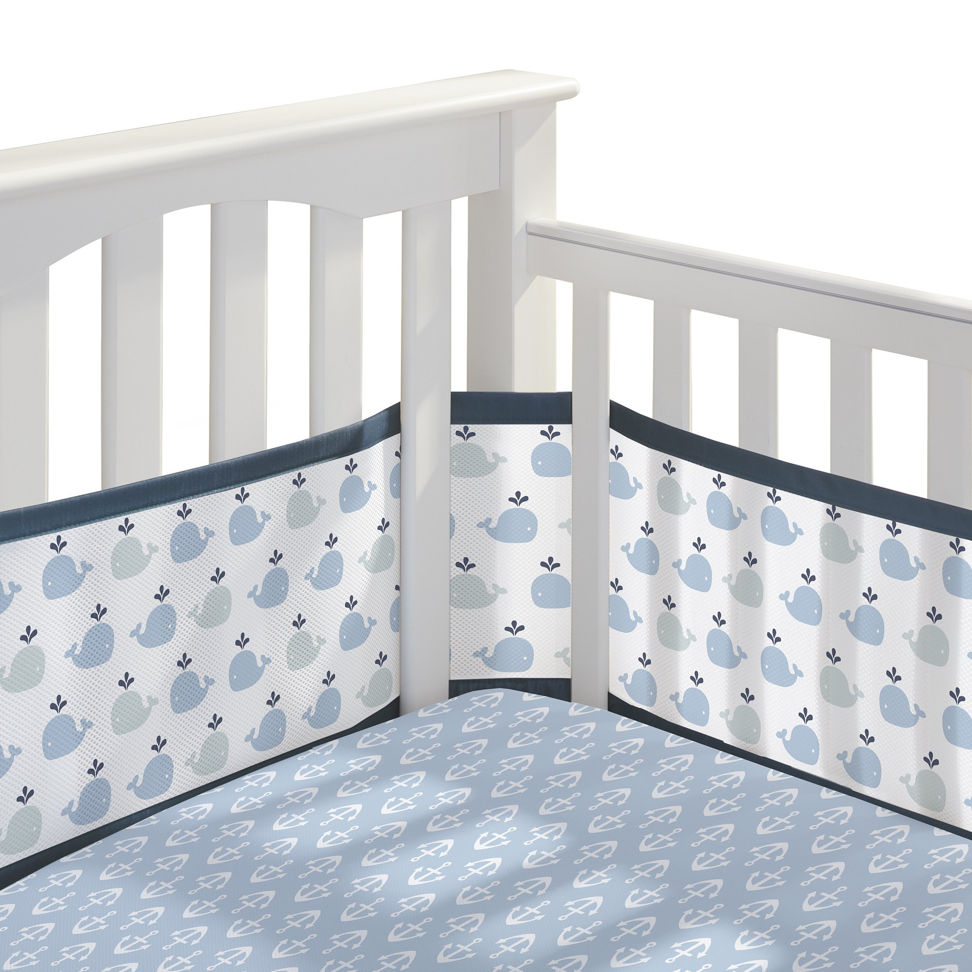 BreathableBaby | Classic Crib Bedding Set | Award Winning | Helps Prevent Arms and Legs from Getting Stuck Between Crib Slats | Independently Tested for Safety | 3 Piece | Little Whale Navy