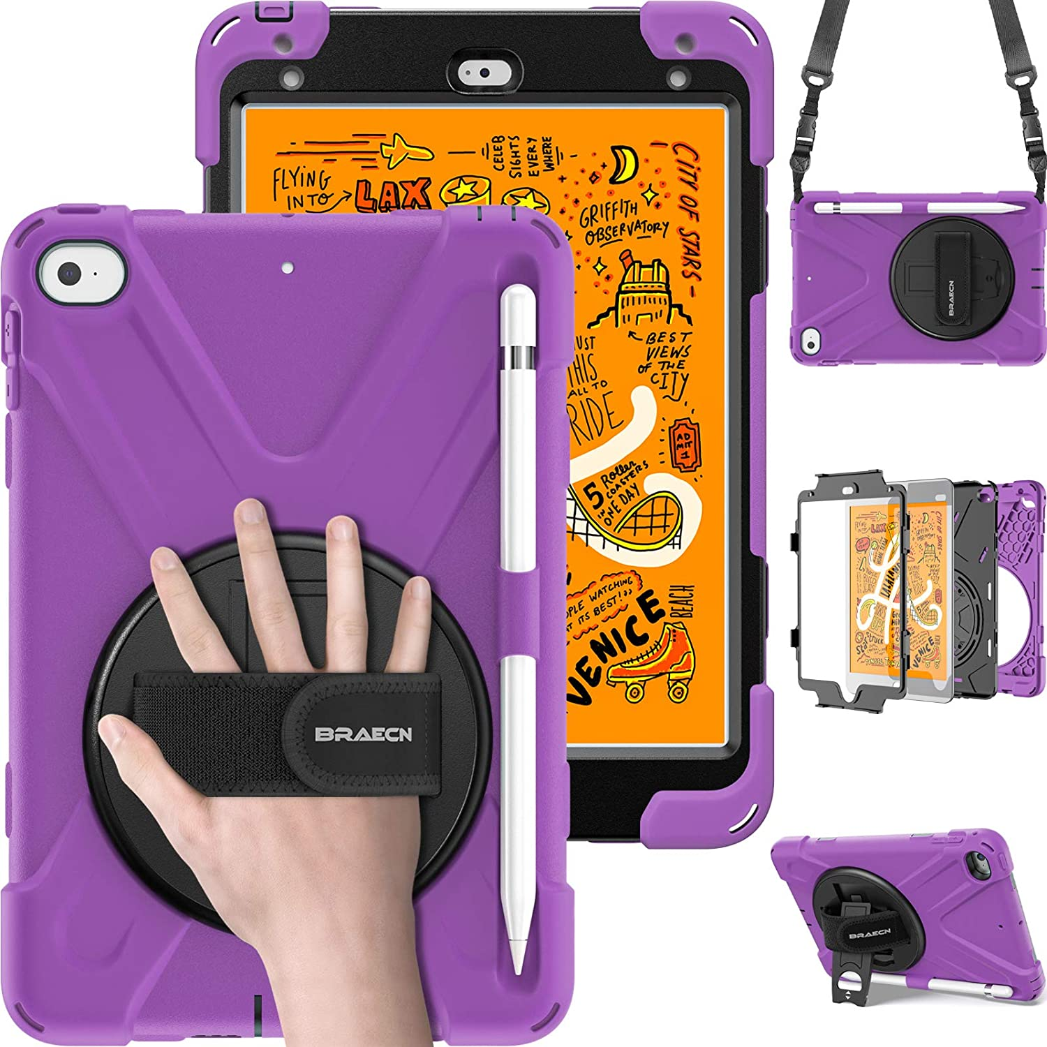 BB5600 iPad Mini sleeve case purple design with pocket and leather straps