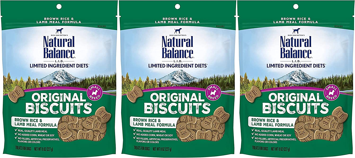 B095DZSQRJ Natural Balance 3 Pack of L.I.D. Limited Ingredient, Gluten-Free Brown Rice and Lamb Meal Biscuits for Small Breed Dogs, 8 Ounces Each