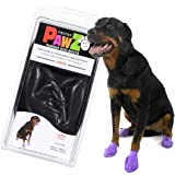 PawZ Dog Boots | Rubber Dog Booties | Waterproof Snow Boots for Dogs | Paw Protection for Dogs | 12 Dog Shoes per Pack (Black