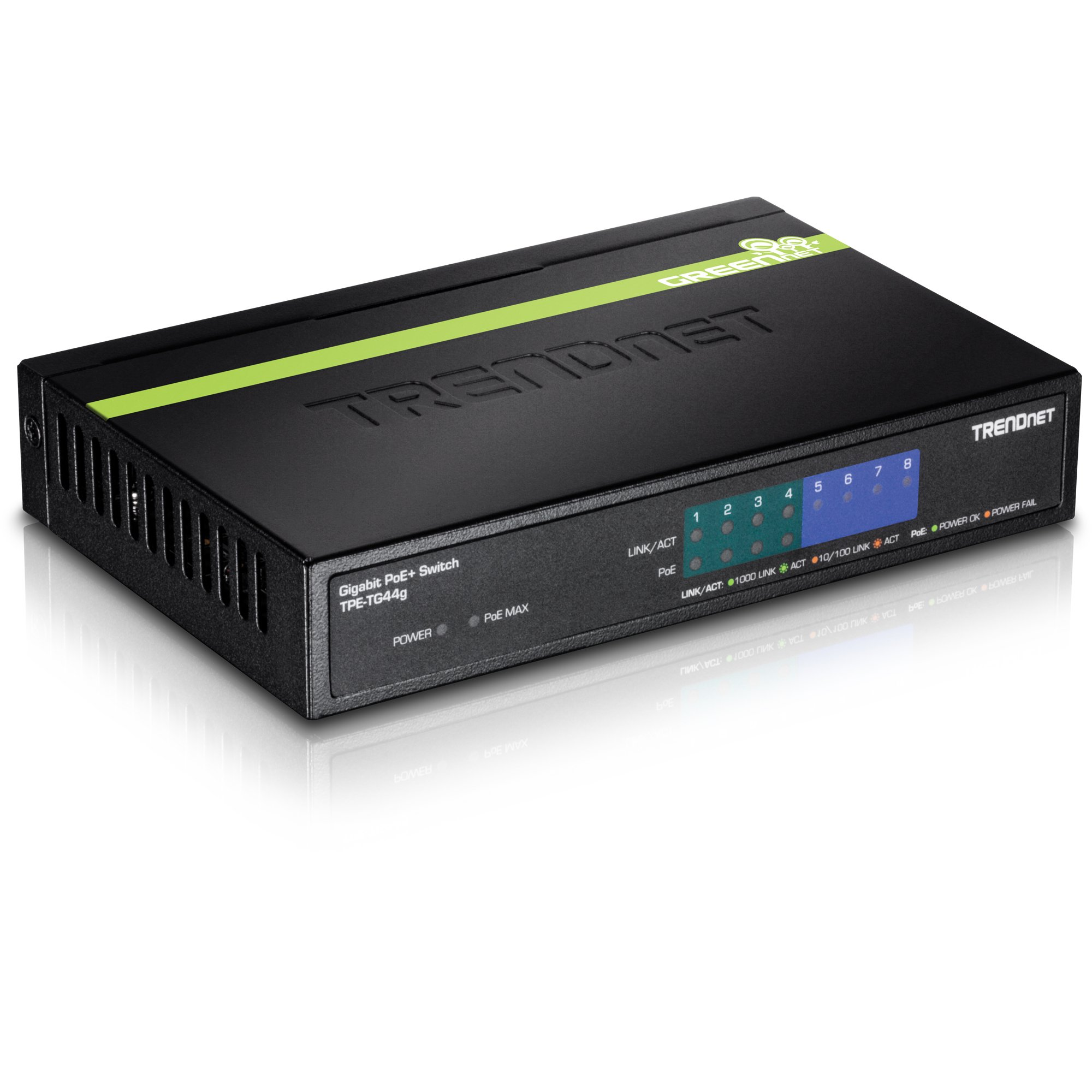 TRENDnet 8-Port Gigabit PoE+ Switch, 4 x Gigabit PoE/PoE+ Ports (Up to 30 Watts/Port), 4 x Gigabit Ports, 61.6W PoE Power Budget, 16 Gbps Switching Capacity, Lifetime Protection, TPE-TG44G