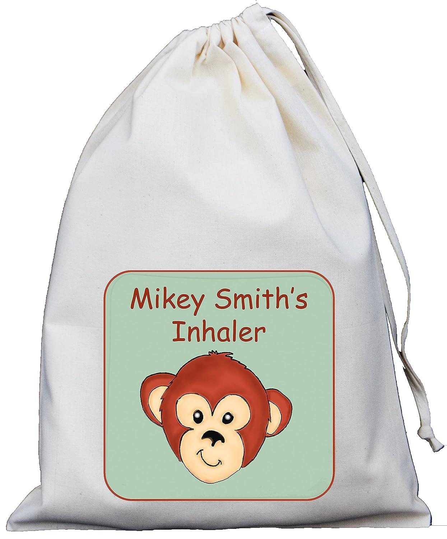 Personalised - Inhaler & Spacer Bag - Monkey Design - 25x35cm Natural Cotton Drawstring Bag - EMPTY …