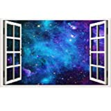 ZHIHANYU 3D Blue Earth Wall Stickers Planetary Universe Starry Sky Scene Wall Decals Removable Wall Mural Decals for Kids Bedroom Ceiling Living Room Nursery Size:(16 x 23inches )