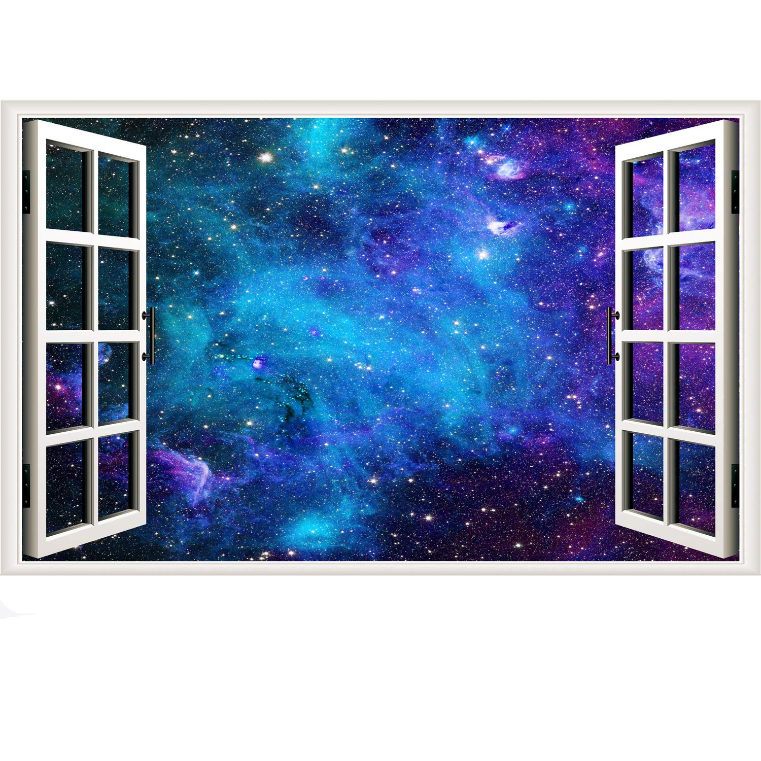 Galaxy Wall Sticker 3D Cosmic Stars Fake Window Wall Decal Blue Space Window View Stickers Milky Way Removable Wall Decals for Bedroom Office