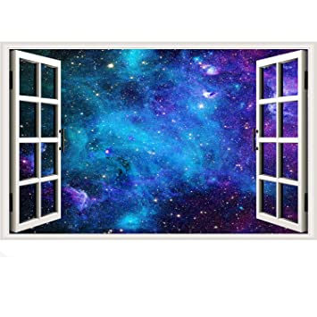 Galaxy Wall Sticker 3d Cosmic Stars Fake Window Wall Decal Blue Space Window View Stickers Milky Way Removable Wall Decals For Bedroom Kitchen Dining