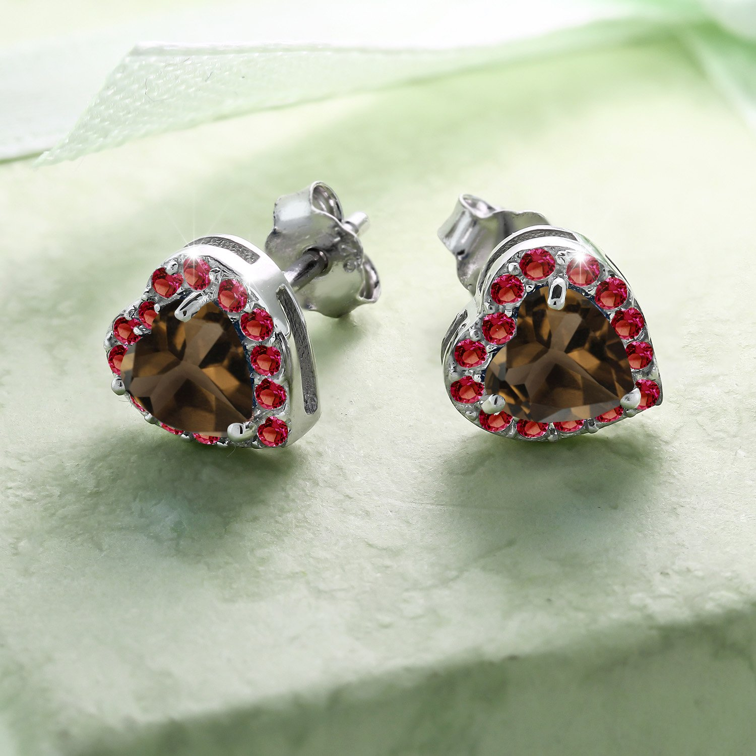 Gem Stone King 925 Sterling Silver 1.30 Ct Brown Smoky Quartz Red Created Ruby Stud Earrings