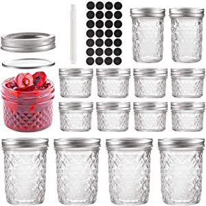 Mason Jars Set of 14, 4 OZ × 8 PCS, 8 OZ × 2PCS, 16OZ × 4 PCS, TAOUNOA Glass Jar with Lids, for Dessert, Jam, Honey, Baby Foods, Candle making, Wedding Favors.