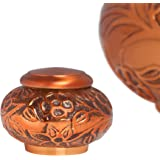 Mini Keepsake Urn • Miniature Funeral Cremation Urn fits Small Amount of Ashes • Copper Vines Model