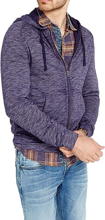 mens buffalo jeans david button full zip up hoodie hooded sweatshirt blue