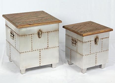 Phoenixarts 509 2 sgabelli vintage con funzione cassapanca stile