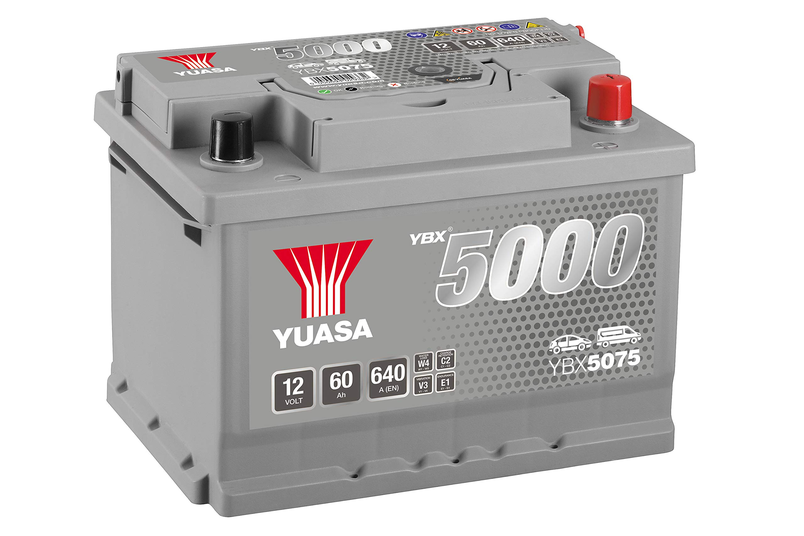 Yuasa YBX5075 12V 60Ah 620A Silver High Performance Battery