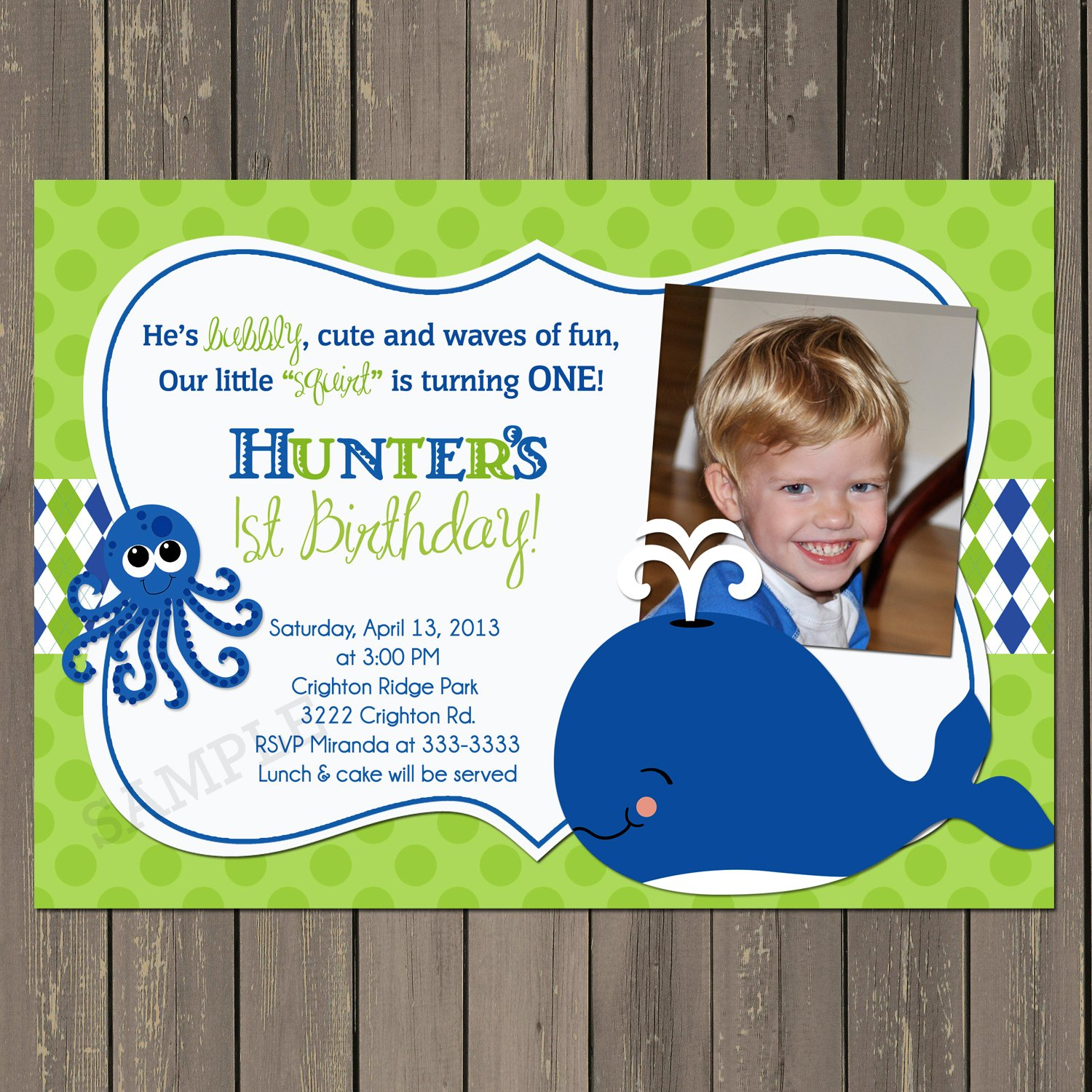 Amazon.com: Whale Birthday Invitation, Whale First Birthday Party ...