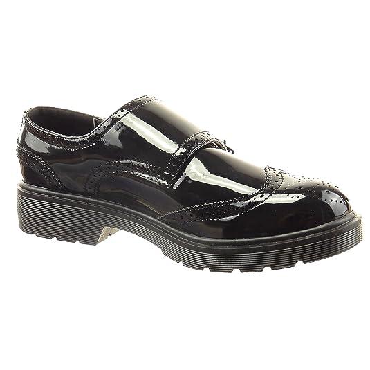 Sopily - Zapatillas de Moda zapato derby Tobillo mujer acabado costura pespunte patentes Hebilla Talón Tacón ancho 3 CM - Negro CAT-3-SN006 T 40 O9WoM80