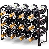 Simple Trending Estante de vino apilable de 3 niveles, organizador de botellas de pie, estante de almacenamiento de vino…