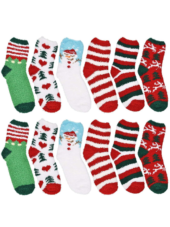 Tatuo 6 Paar Weihnachten Fuzzy Socken Damen Plüsch Slipper Socken ...
