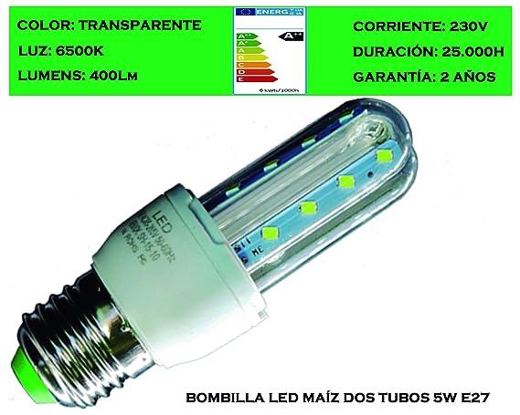 Tubombiled - Bombilla LED Maíz Dos Tubos Transparente E27 5W (El paquete contiene 6 unidades