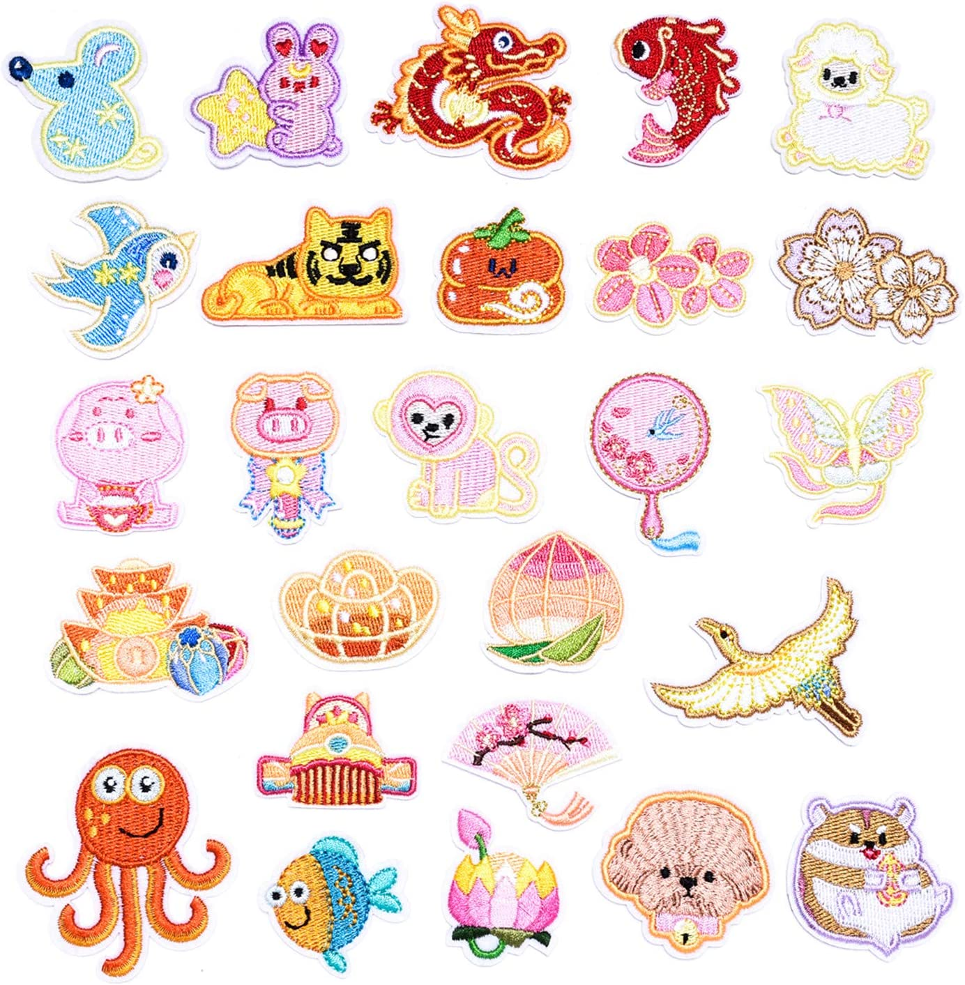 Butie. 26pcs Embroidered Patch Sew On/Iron On Patches Applique Accessories Assorted Size Decoration Patches for DIY Jeans Jacket Clothing Handbag Shoes Caps (26PCS-RF-56)