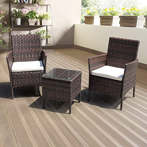 DIMAR garden 3 Piece Outdoor Patio Furniture Sectional Chair Conversation Set Lawn Pool Wicker Rattan Patio Chair with Coffee Table Mix Brown