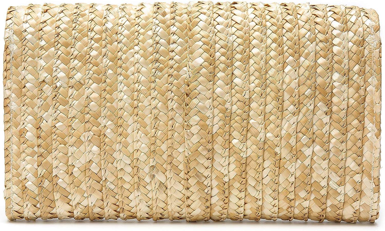 Obosoyo Womens Straw Clutch Handbag Straw Purse Envelope Bag Wallet Summer Beach Bag Woven Bag Purse Wallet