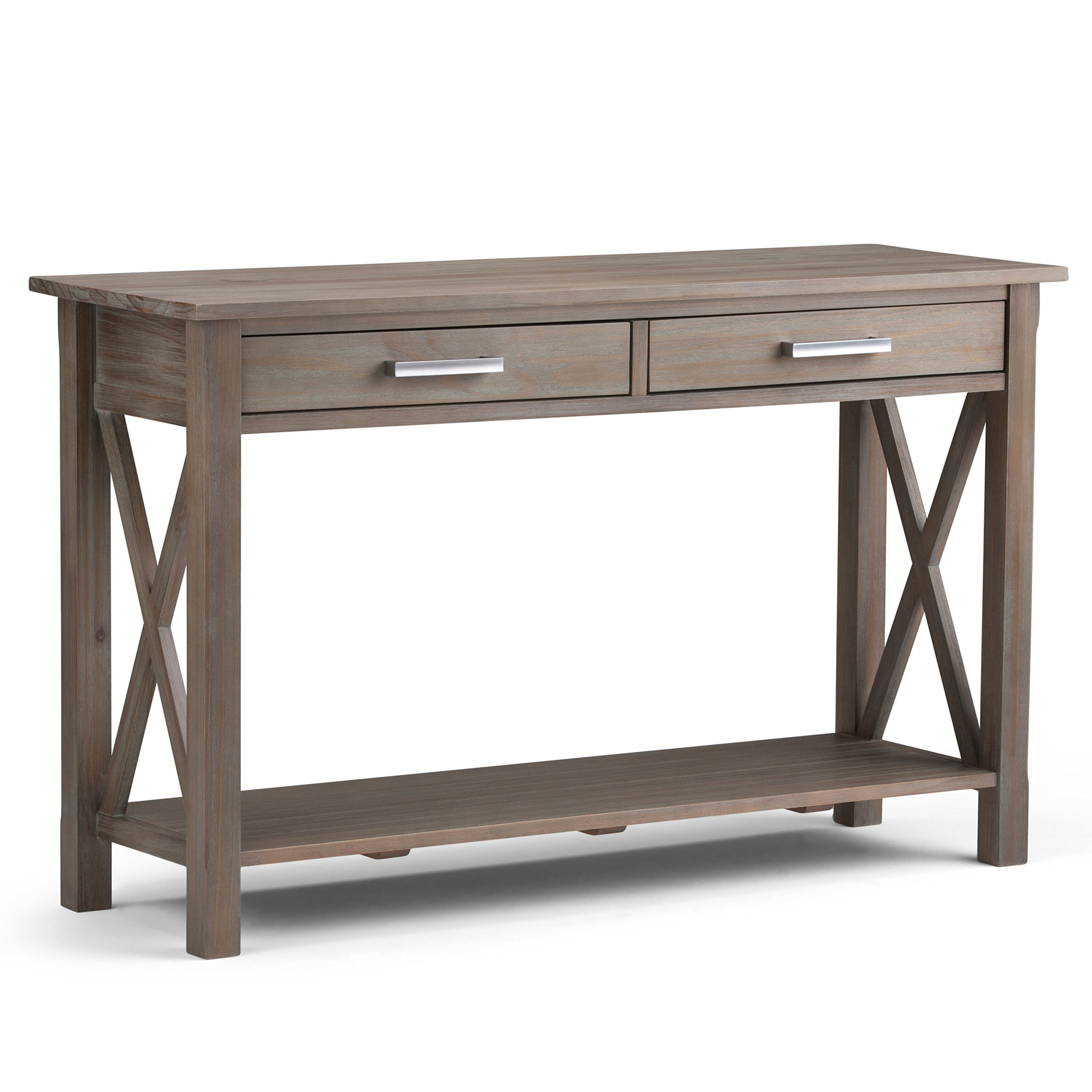 Simpli Home 3AXCRGL003-GR Kitchener Solid Wood 47 inch wide Contemporary Console Sofa Table in Distressed Grey by Simpli Home