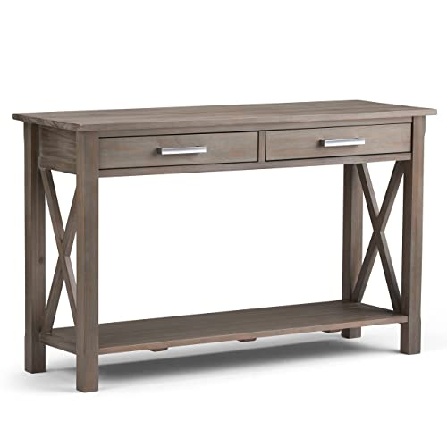 Simpli Home 3AXCRGL003-GR Kitchener Solid Wood 47 inch Wide Contemporary Console Sofa Table in Distressed Grey